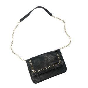 ALDO Black Leather Crossbody Bag Gold Chain Purse